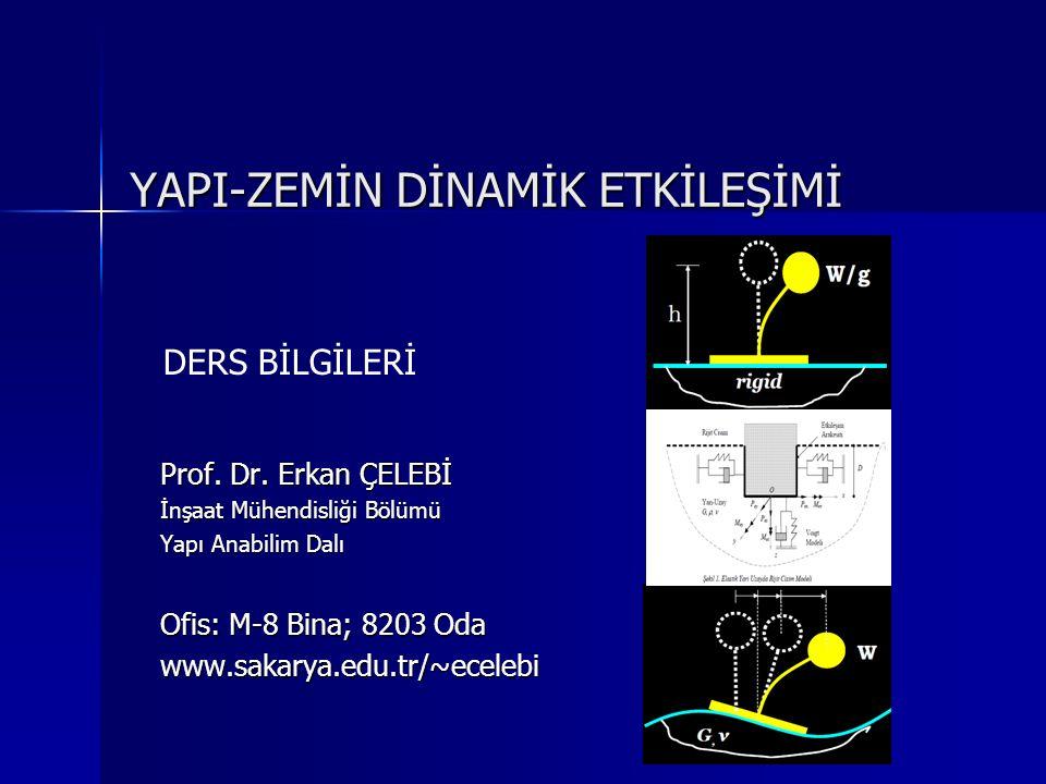 Üç Önemli Dinamik Yük Kaynağının Karşılaştırılması: Depremler: Tesir eden yük: hızlı (frekans aralığı  0.5 Hz ile 10 Hz) çevrimsel (10-30 önemli gerilme tersinmeleri içerir) Şekil-değiştirme kontrollü büyük şekil değiştirme üretir (  c = 10 -2 - 10 -1 ) titreşim yapısı rastgele (gelişigüzel) ve geniş frekans spektrum içeriği Dönen Makinalar: hızlı-çok hızlı (frekans aralığı  100 Hz) çevrimsel (1000lerce çevrimler içerir) gerilme kontrollü çok küçük şekil değiştirmeler üretir (  c ≤ 10 -5 ) harmonik (kendini tekrarlayan)