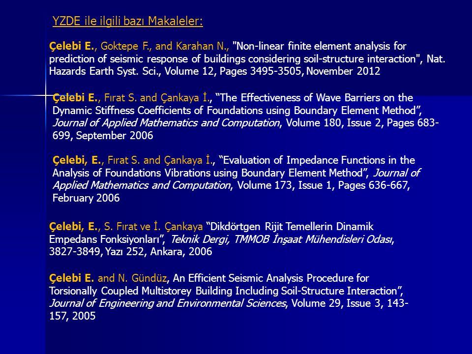 Kinematik etkileşim Tüm yapı sistemi Esnek temelli yapı sistemi yayılmış yay sistemli esnek temel modeli