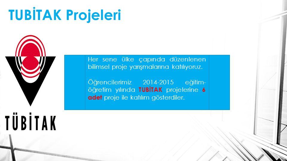 TUBİTAK Projeleri Her sene ülke çapında düzenlenen bilimsel proje yarışmalarına katılıyoruz. Öğrencilerimiz 2014-2015 eğitim- öğretim yılında TUBİTAK