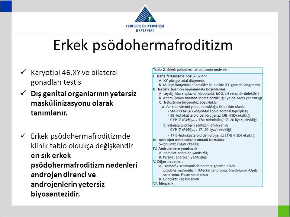 Erkek psödohermafroditizm Karyotipi 46,XY ve bilateral gonadları testis Dış genital organlarının yetersiz maskülinizasyonu olarak tanımlanır.