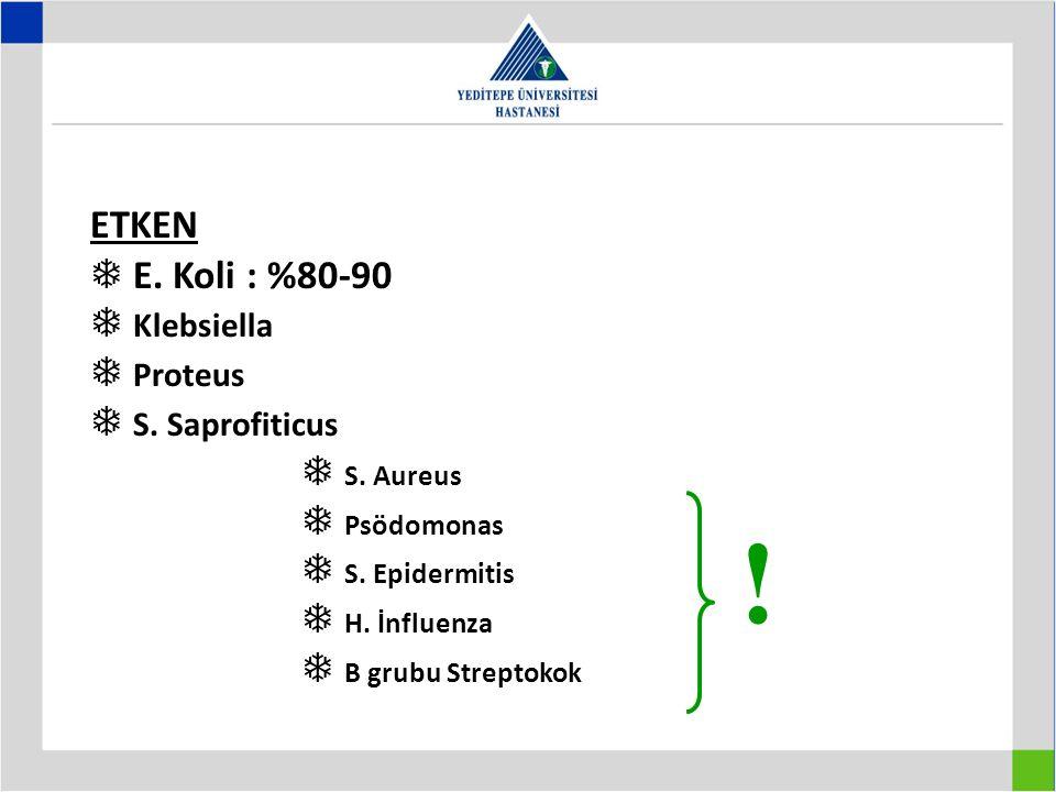 ETKEN  E.Koli : %80-90  Klebsiella  Proteus  S.