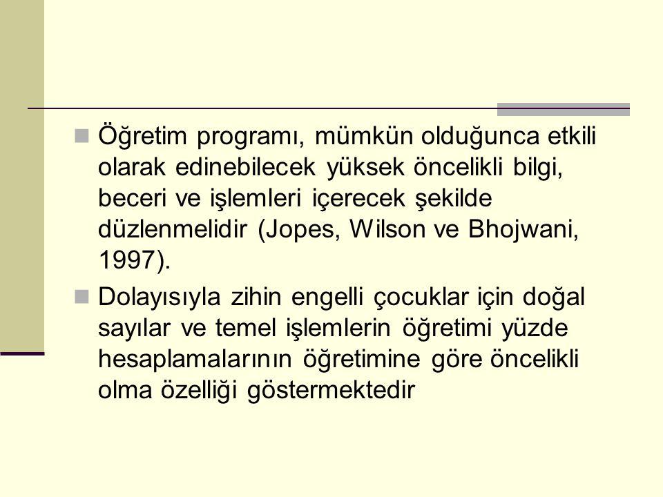 Öğretim programı, mümkün olduğunca etkili olarak edinebilecek yüksek öncelikli bilgi, beceri ve işlemleri içerecek şekilde düzlenmelidir (Jopes, Wilson ve Bhojwani, 1997).