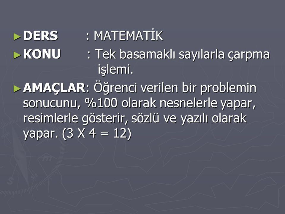 ► DERS : MATEMATİK ► KONU : Tek basamaklı sayılarla çarpma işlemi.