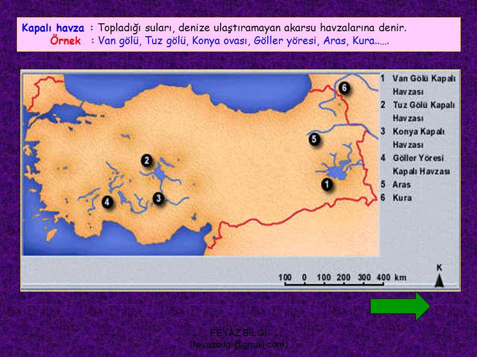 FEYAZ BİLGİ (feyazbilgi@gmail.com) Açık havza : Topladığı suları denize ulaştıran akarsu havzalarına denir.