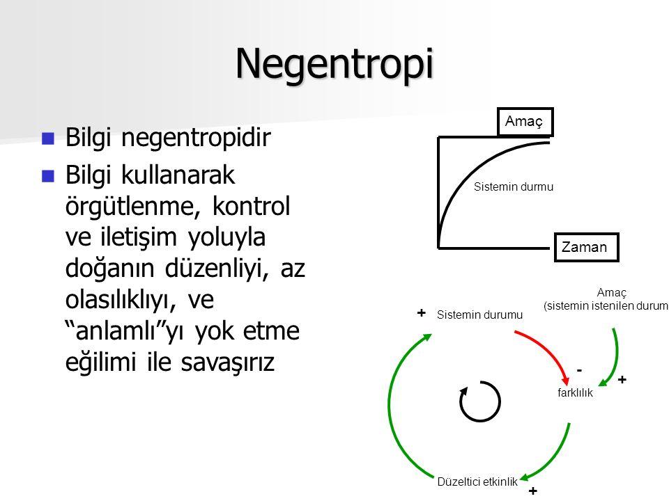 Negentropi Bilgi negentropidir Bilgi kullanarak örgütlenme, kontrol ve iletişim yoluyla doğanın düzenliyi, az olasılıklıyı, ve anlamlı yı yok etme eğilimi ile savaşırız Zaman Amaç Sistemin durmu Sistemin durumu Düzeltici etkinlik farklılık Amaç (sistemin istenilen durumu) - + + +