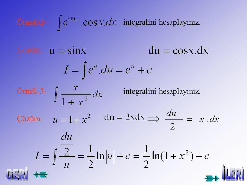 İntegralinde u=g(x) ve Dönüşümü yapılarak integral haline getirilir.