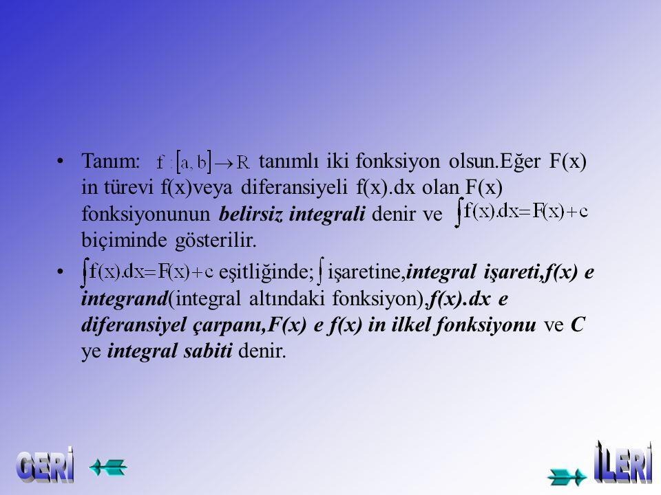 Örnek-2- integralini hesaplayınız. Çözüm: Örnek-3- integralini hesaplayınız. Çözüm: