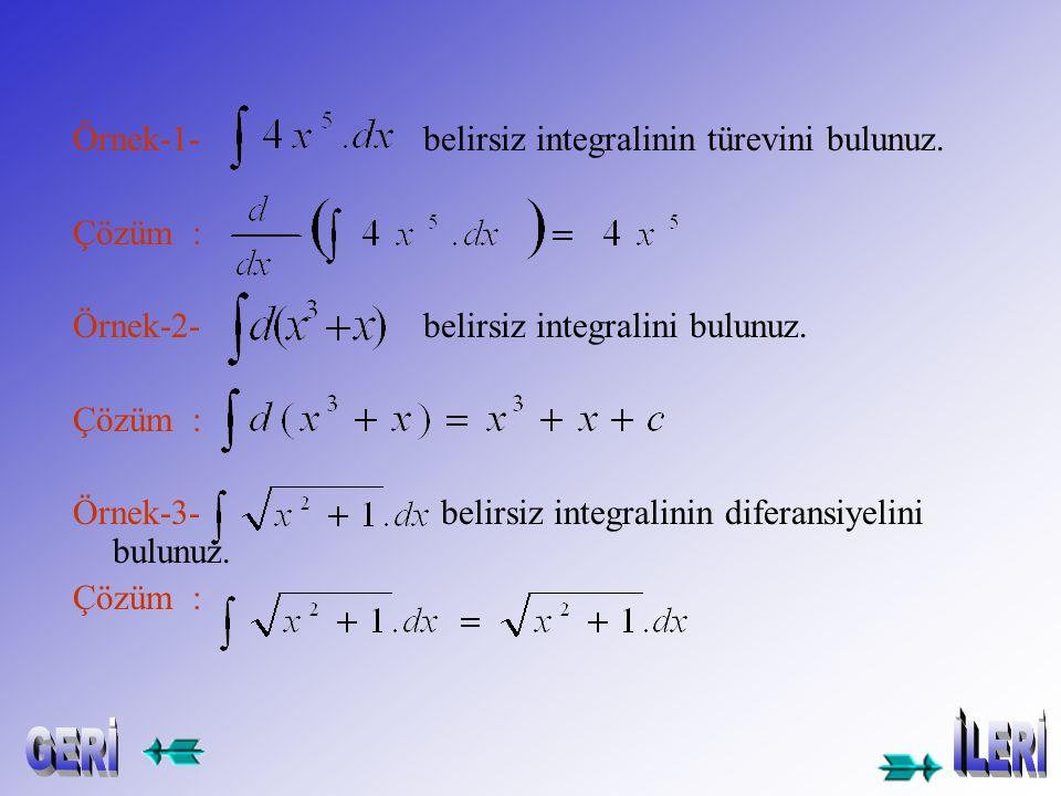 1.Bir belirsiz integralin türevi,integrali alınan fonksiyona eşittir: 2.Bir belirsiz integralin diferansiyeli,integral işaretinin altındaki ifadeye eş