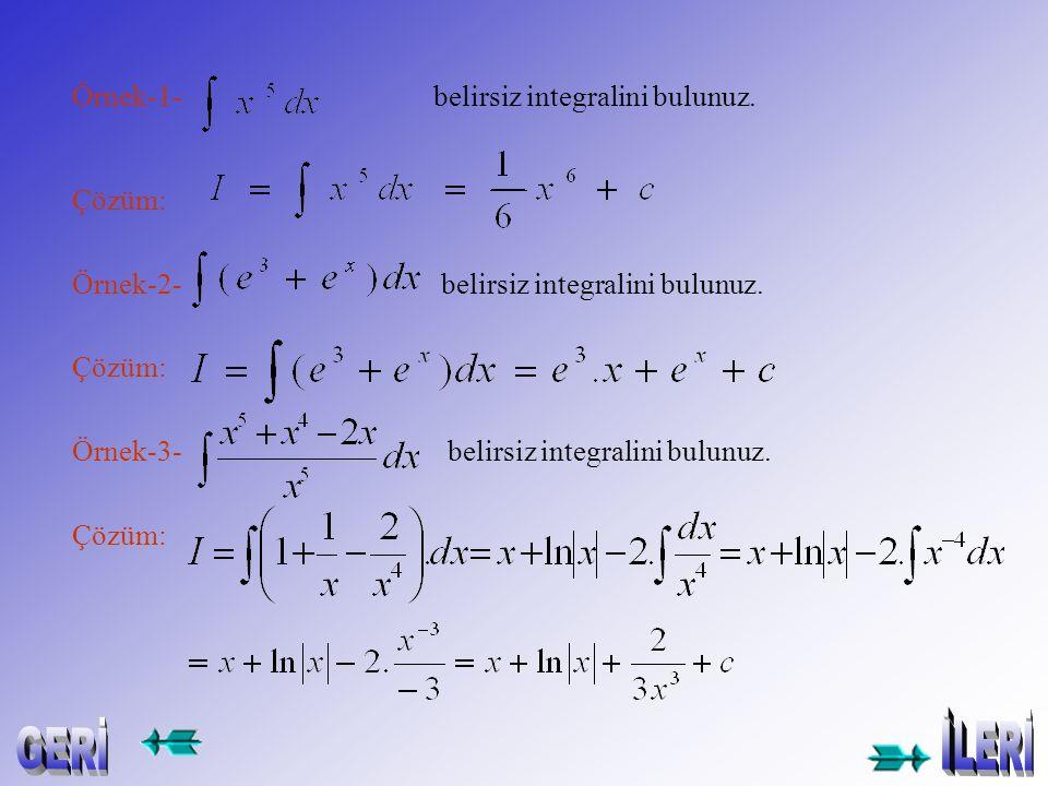 Örnek-1- belirsiz integralini bulunuz.Çözüm: Örnek-2- belirsiz integralini bulunuz.