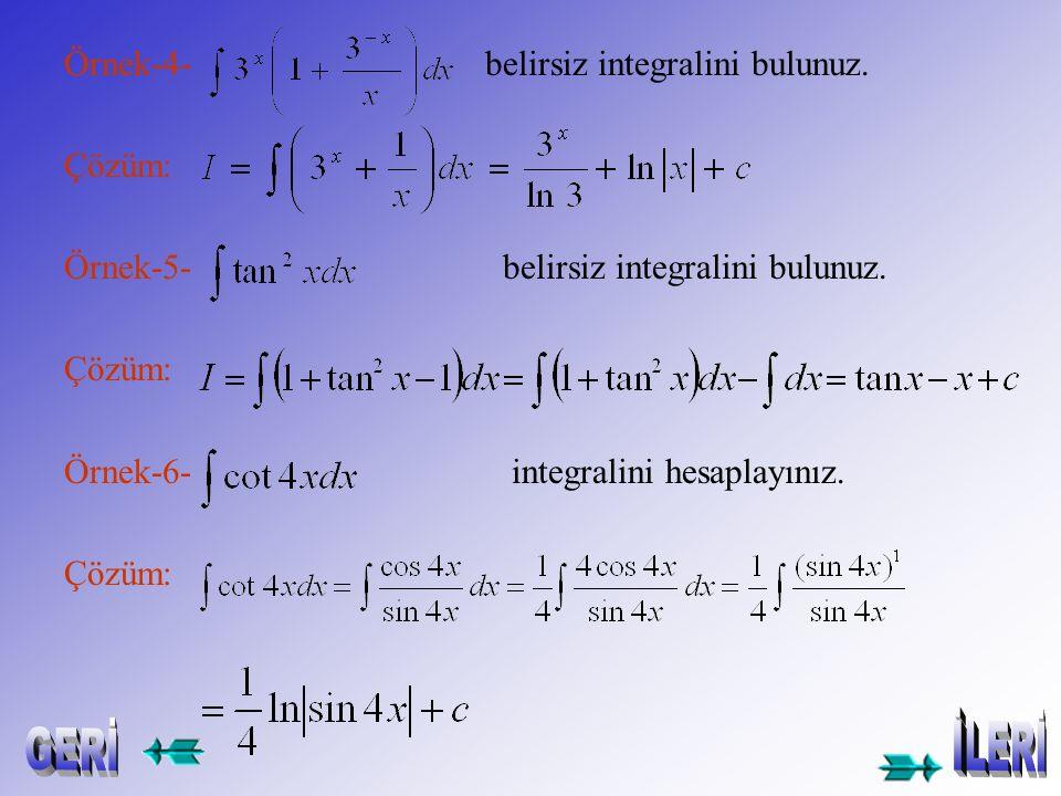 Örnek-1- belirsiz integralini bulunuz. Çözüm: Örnek-2- belirsiz integralini bulunuz. Çözüm: Örnek-3- belirsiz integralini bulunuz. Çözüm: