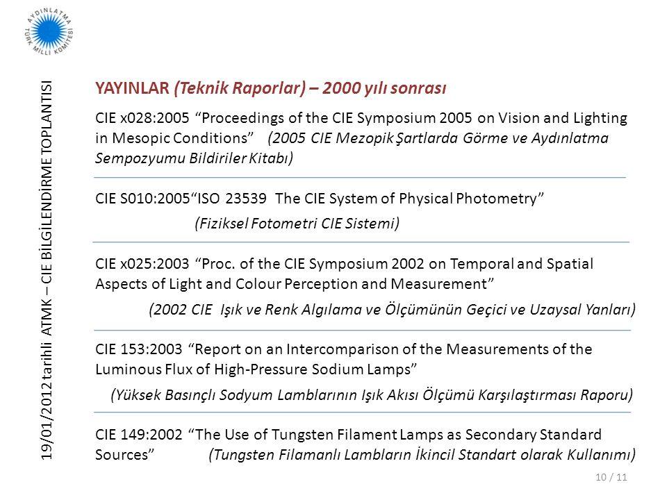 """19/01/2012 tarihli ATMK – CIE BİLGİLENDİRME TOPLANTISI 10 / 11 YAYINLAR (Teknik Raporlar) – 2000 yılı sonrası CIE x028:2005 """"Proceedings of the CIE Sy"""