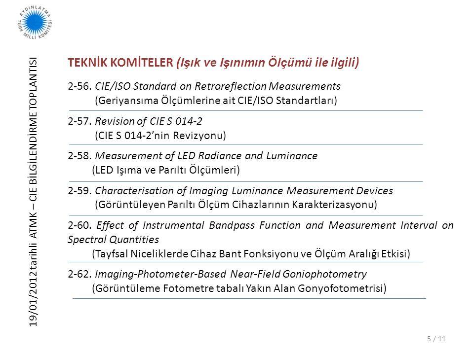 19/01/2012 tarihli ATMK – CIE BİLGİLENDİRME TOPLANTISI 6 / 11 TEKNİK KOMİTELER ( Işık ve Işınımın Ölçümü ile ilgili) 2-63.