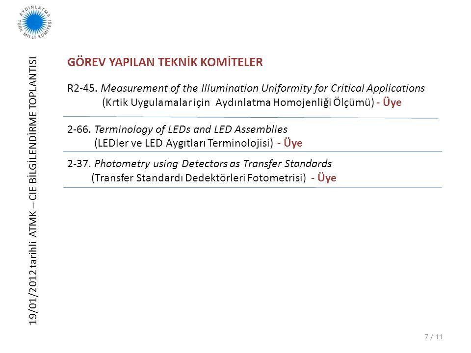 19/01/2012 tarihli ATMK – CIE BİLGİLENDİRME TOPLANTISI 8 / 11 YAYINLAR (Teknik Raporlar) – 2000 yılı sonrası CIE 202:2011 Spectral responsivity Measurements of Detectors, Radiometers and Photometers (Dedektör, Radyometre ve Fotometrelerin Tayfsal Duyarlılık Ölçümleri) CIE 197:2011 Proc.27th CIE, Sun City, South Africa, 9-16.07.2011 (27.