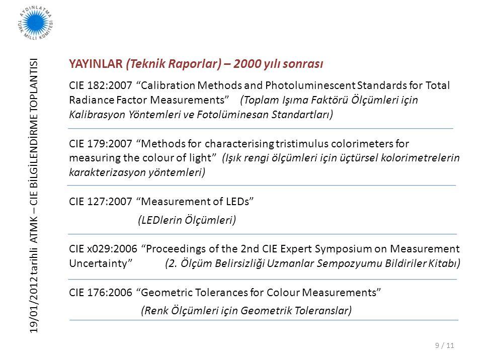 """19/01/2012 tarihli ATMK – CIE BİLGİLENDİRME TOPLANTISI 9 / 11 YAYINLAR (Teknik Raporlar) – 2000 yılı sonrası CIE 182:2007 """"Calibration Methods and Pho"""