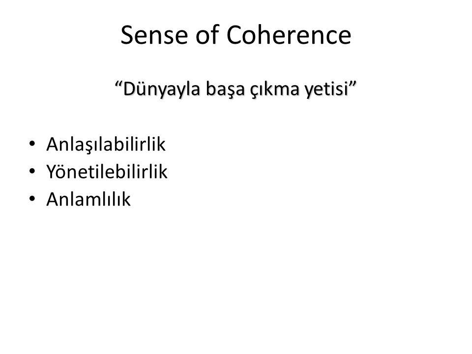 """Sense of Coherence """"Dünyayla başa çıkma yetisi"""" Anlaşılabilirlik Yönetilebilirlik Anlamlılık"""