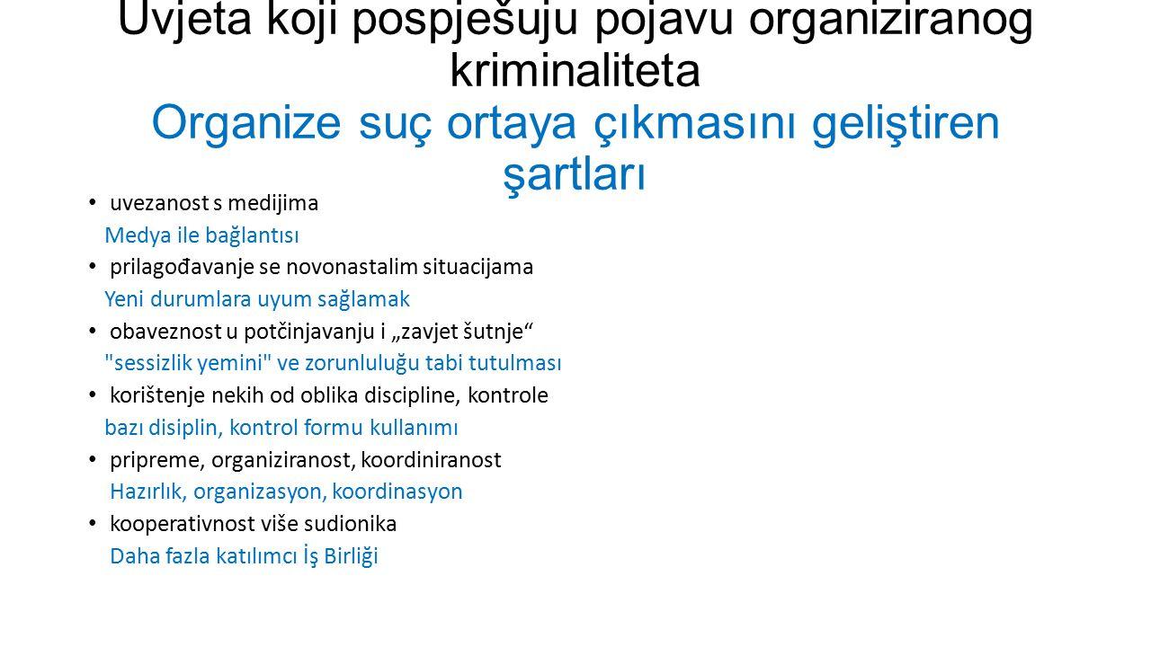 Uvjeta koji pospješuju pojavu organiziranog kriminaliteta Organize suç ortaya çıkmasını geliştiren şartları uvezanost s medijima Medya ile bağlantısı
