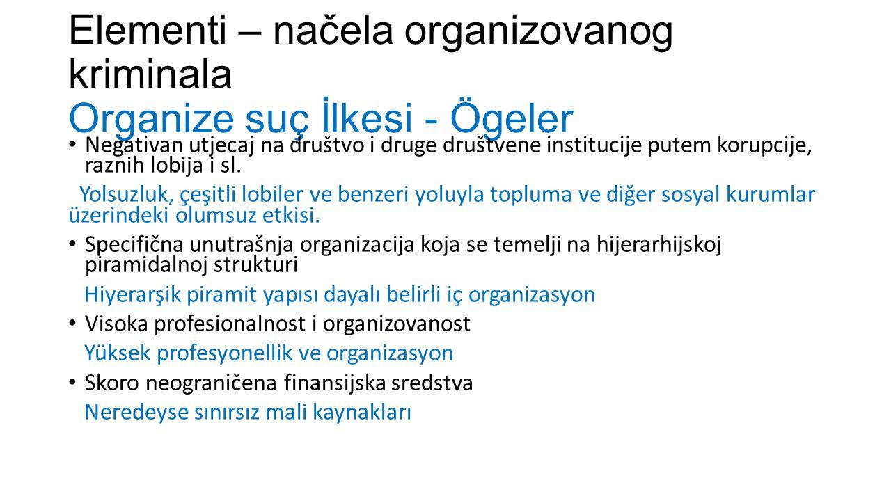 Elementi – načela organizovanog kriminala Organize suç İlkesi - Ögeler Negativan utjecaj na društvo i druge društvene institucije putem korupcije, raznih lobija i sl.