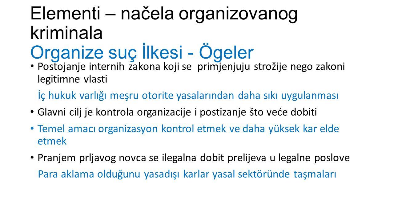 Elementi – načela organizovanog kriminala Organize suç İlkesi - Ögeler Postojanje internih zakona koji se primjenjuju strožije nego zakoni legitimne v