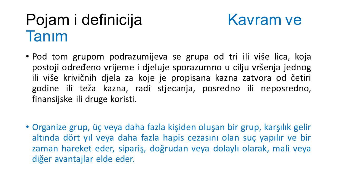 Pojam i definicija Kavram ve Tanım Pod tom grupom podrazumijeva se grupa od tri ili više lica, koja postoji odre đ eno vrijeme i djeluje sporazumno u