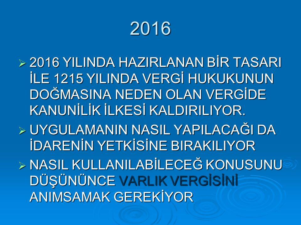 2016  2016 YILINDA HAZIRLANAN BİR TASARI İLE 1215 YILINDA VERGİ HUKUKUNUN DOĞMASINA NEDEN OLAN VERGİDE KANUNİLİK İLKESİ KALDIRILIYOR.