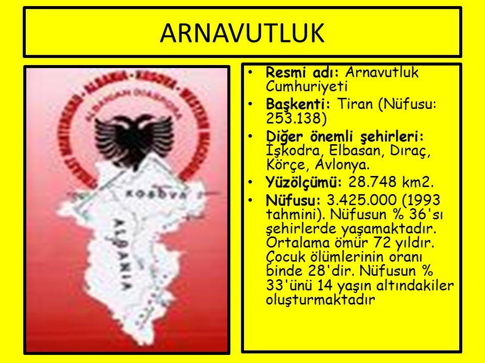 ARNAVUTLUK Resmi adı: Arnavutluk Cumhuriyeti Başkenti: Tiran (Nüfusu: 253.138) Diğer önemli şehirleri: İşkodra, Elbasan, Dıraç, Körçe, Avlonya.