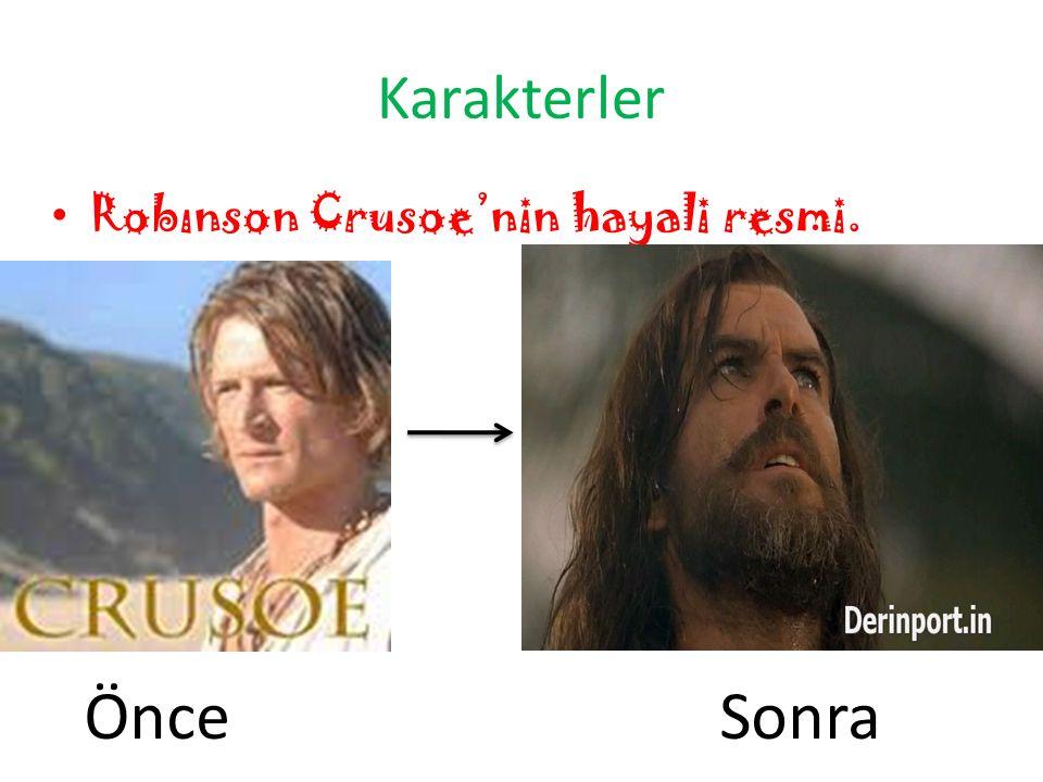 Karakterler Robınson Crusoe'nin hayali resmi. ÖnceSonra