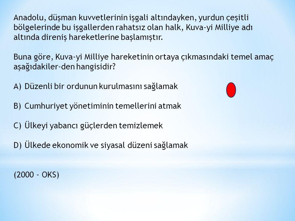 Anadolu, düşman kuvvetlerinin işgali altındayken, yurdun çeşitli bölgelerinde bu işgallerden rahatsız olan halk, Kuva-yi Milliye adı altında direniş hareketlerine başlamıştır.