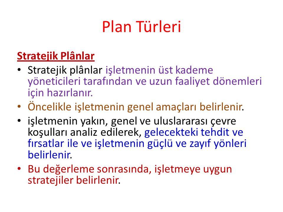 Plan Türleri Stratejik Plânlar Stratejik plânlar işletmenin üst kademe yöneticileri tarafından ve uzun faaliyet dönemleri için hazırlanır. Öncelikle i