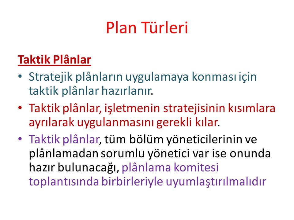 Plan Türleri Taktik Plânlar Stratejik plânların uygulamaya konması için taktik plânlar hazırlanır. Taktik plânlar, işletmenin stratejisinin kısımlara