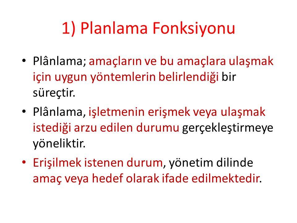 1) Planlama Fonksiyonu Plânlama; amaçların ve bu amaçlara ulaşmak için uygun yöntemlerin belirlendiği bir süreçtir.