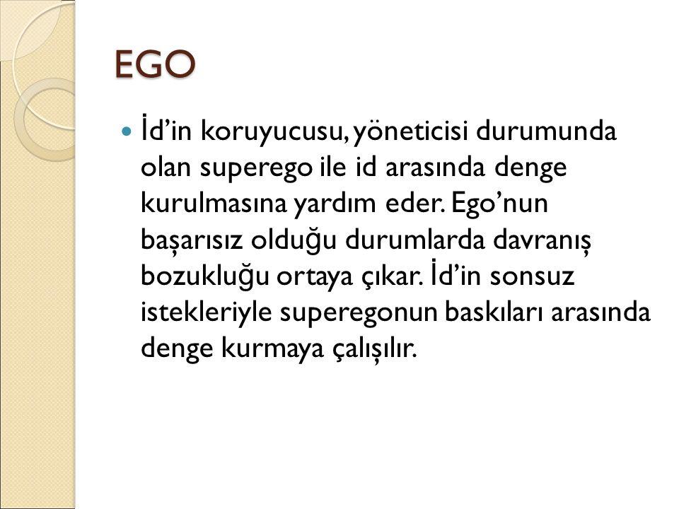 EGO İ d'in koruyucusu, yöneticisi durumunda olan superego ile id arasında denge kurulmasına yardım eder. Ego'nun başarısız oldu ğ u durumlarda davranı