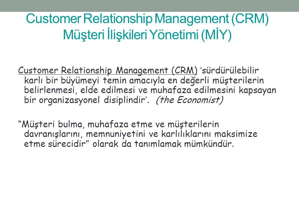 Customer Relationship Management (CRM) Müşteri İlişkileri Yönetimi (MİY) Customer Relationship Management (CRM) 'sürdürülebilir karlı bir büyümeyi tem