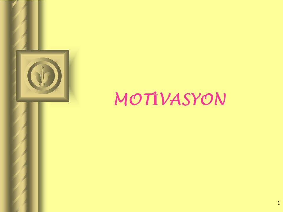 11 1...İhtiyaçlar Başarı Güvenlik, Sosyal Kabul Sevgi, Gelişme Takdir edilme (Yanlışa ceza yerine doğruya ödül) Güçlü Olma 2...Değerler Prensipler İnançlar Çalışanları iki şey motive eder