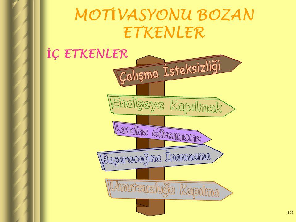 17 MOT İ VASYON SORUNLARI Motivasyonu sağlayabilmek için öncelikle motivasyonun önündeki engellerin kaldırılması gerekir. Bu engeller; Çalışan İşi Nas