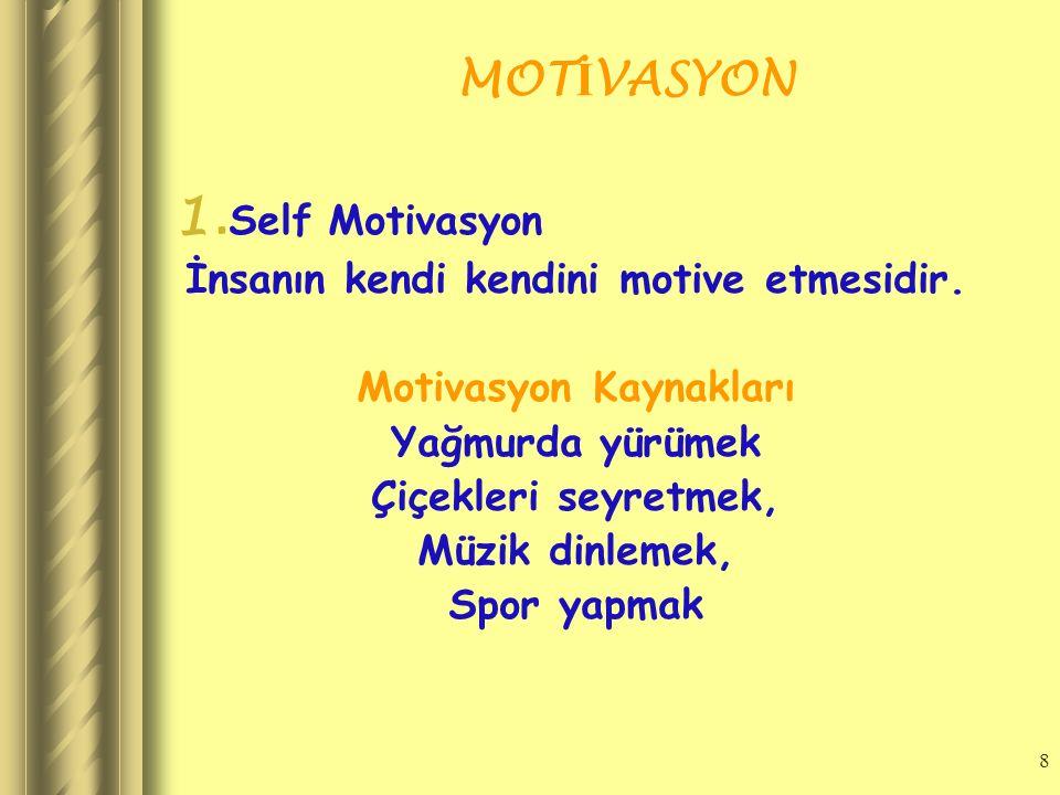 7 MOT İ VASYON Ki ş isel Olarak İ kiye Ayrılır 1. Self Motivasyon 2. Genel Motivasyon