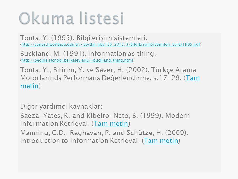 Tonta, Y. (1995). Bilgi erişim sistemleri. (http://yunus.hacettepe.edu.tr/~soydal/bby156_2013/3/BilgiErisimSistemleri_tonta1995.pdf)http://yunus.hacet