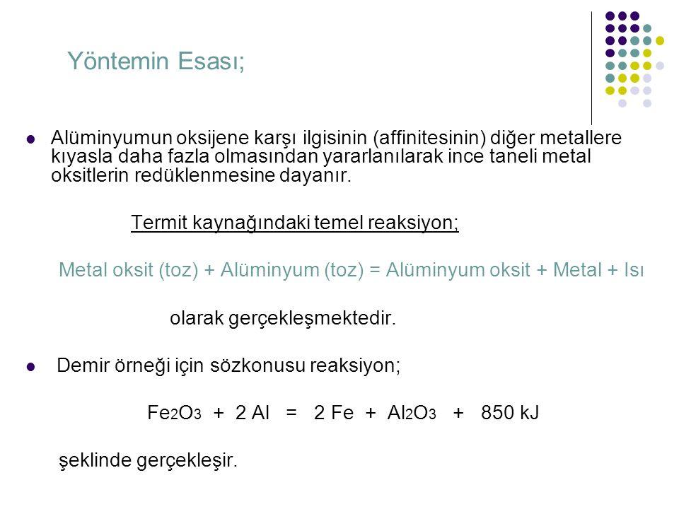 Yöntemin Esası; Alüminyumun oksijene karşı ilgisinin (affinitesinin) diğer metallere kıyasla daha fazla olmasından yararlanılarak ince taneli metal ok