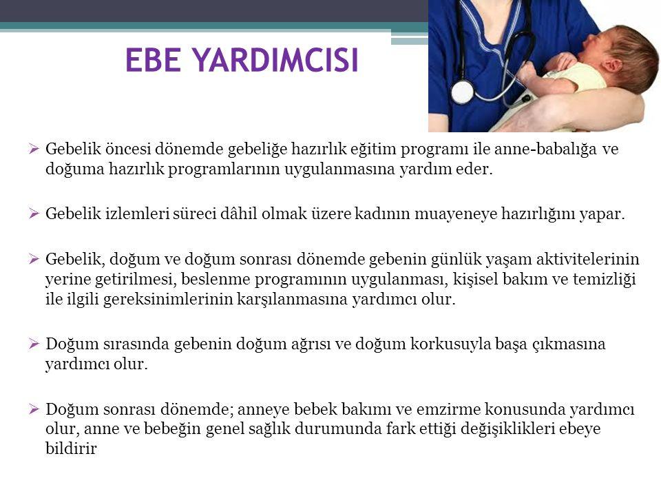 EBE YARDIMCISI  Gebelik öncesi dönemde gebeliğe hazırlık eğitim programı ile anne-babalığa ve doğuma hazırlık programlarının uygulanmasına yardım eder.