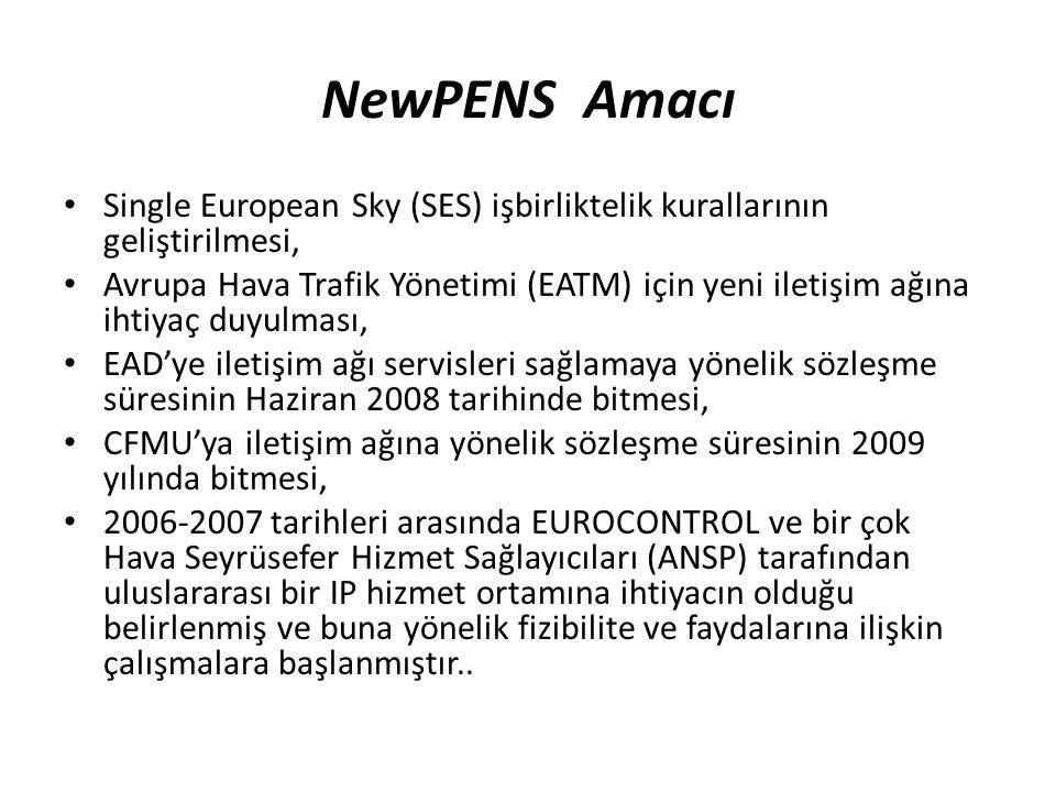 NewPENS Amacı Single European Sky (SES) işbirliktelik kurallarının geliştirilmesi, Avrupa Hava Trafik Yönetimi (EATM) için yeni iletişim ağına ihtiyaç duyulması, EAD'ye iletişim ağı servisleri sağlamaya yönelik sözleşme süresinin Haziran 2008 tarihinde bitmesi, CFMU'ya iletişim ağına yönelik sözleşme süresinin 2009 yılında bitmesi, 2006-2007 tarihleri arasında EUROCONTROL ve bir çok Hava Seyrüsefer Hizmet Sağlayıcıları (ANSP) tarafından uluslararası bir IP hizmet ortamına ihtiyacın olduğu belirlenmiş ve buna yönelik fizibilite ve faydalarına ilişkin çalışmalara başlanmıştır..