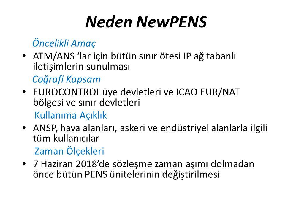 Neden NewPENS Öncelikli Amaç ATM/ANS 'lar için bütün sınır ötesi IP ağ tabanlı iletişimlerin sunulması Coğrafi Kapsam EUROCONTROL üye devletleri ve ICAO EUR/NAT bölgesi ve sınır devletleri Kullanıma Açıklık ANSP, hava alanları, askeri ve endüstriyel alanlarla ilgili tüm kullanıcılar Zaman Ölçekleri 7 Haziran 2018'de sözleşme zaman aşımı dolmadan önce bütün PENS ünitelerinin değiştirilmesi