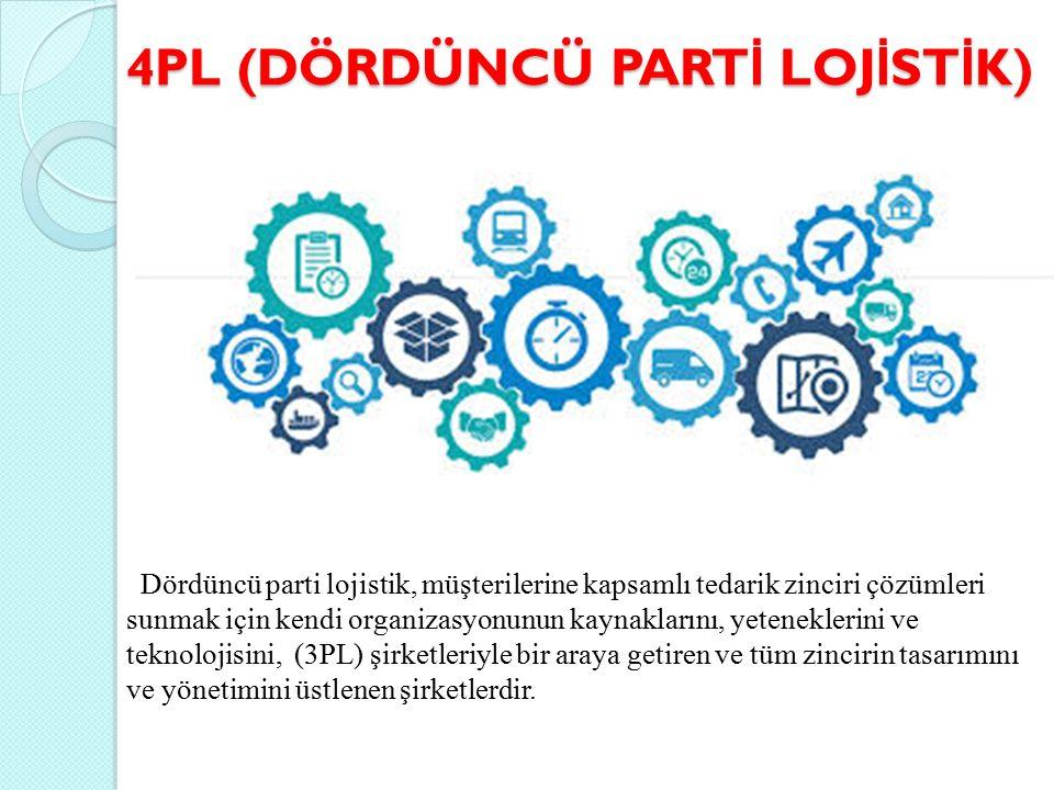 4PL (DÖRDÜNCÜ PART İ LOJ İ ST İ K) Dördüncü parti lojistik, müşterilerine kapsamlı tedarik zinciri çözümleri sunmak için kendi organizasyonunun kaynaklarını, yeteneklerini ve teknolojisini, (3PL) şirketleriyle bir araya getiren ve tüm zincirin tasarımını ve yönetimini üstlenen şirketlerdir.