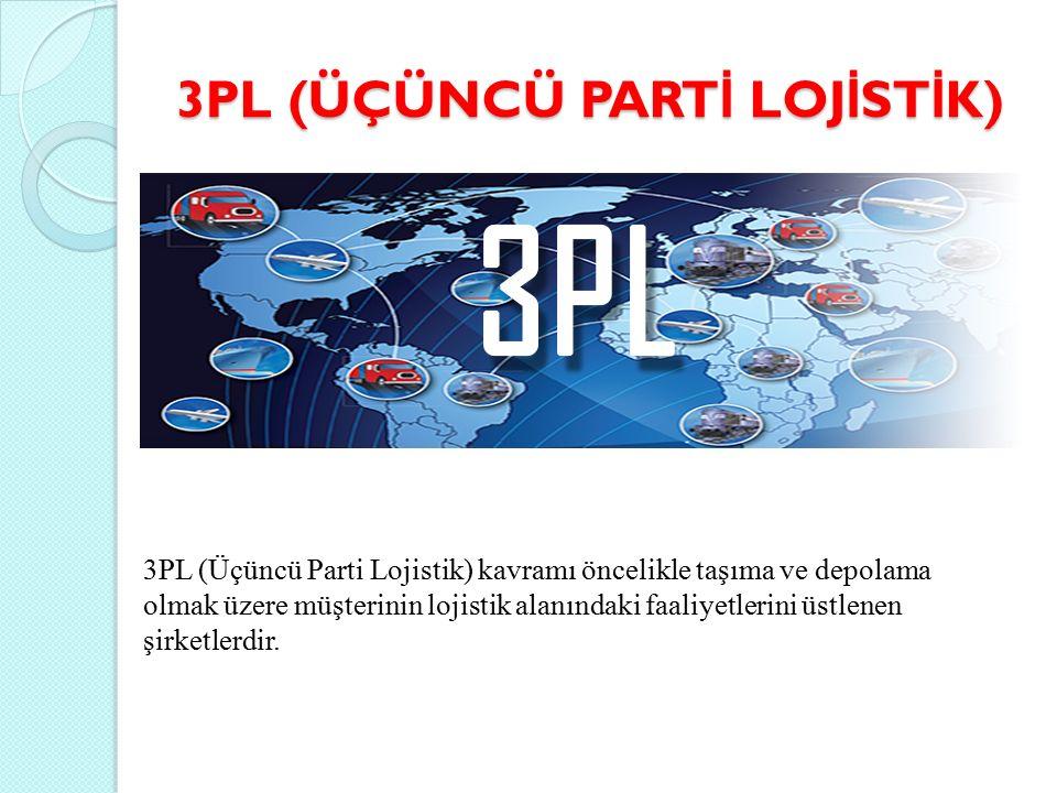 3PL (ÜÇÜNCÜ PART İ LOJ İ ST İ K) 3PL (Üçüncü Parti Lojistik) kavramı öncelikle taşıma ve depolama olmak üzere müşterinin lojistik alanındaki faaliyetlerini üstlenen şirketlerdir.