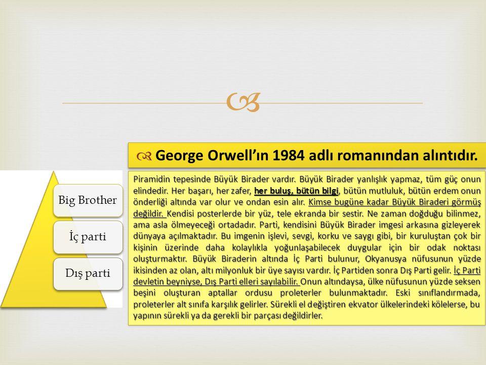  Big Brotherİç partiDış parti  George Orwell'ın 1984 adlı romanından alıntıdır.