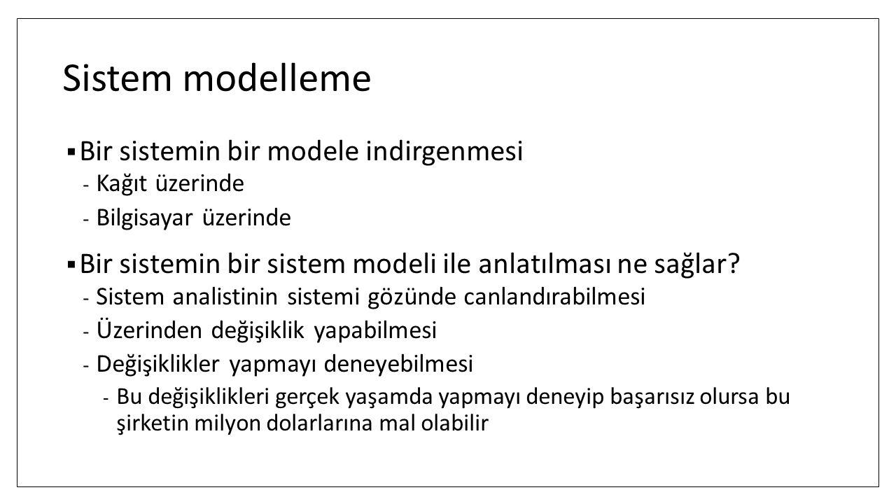 Sistem modelleme  Bir sistemin bir modele indirgenmesi - Kağıt üzerinde - Bilgisayar üzerinde  Bir sistemin bir sistem modeli ile anlatılması ne sağlar.