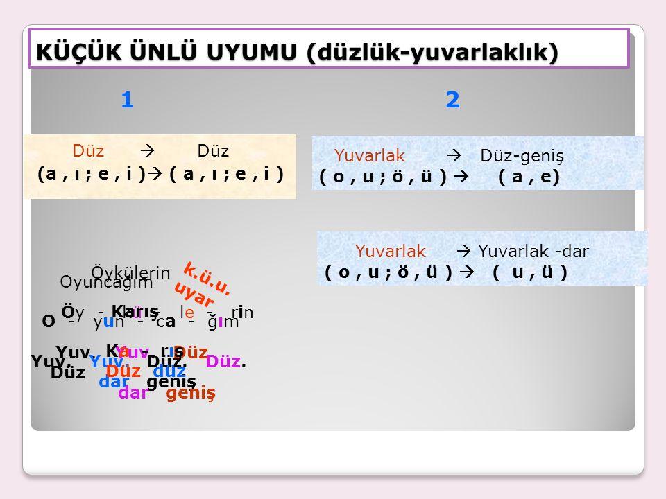 Türkçede ekler sözcüklerin son hecelerine uyar.