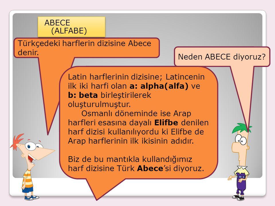 SES BİLGİSİ ALFABE: Harflerin, belli bir sıra dahilinde dizilmiş, kabullenilmiş düzenine Alfabe denir.