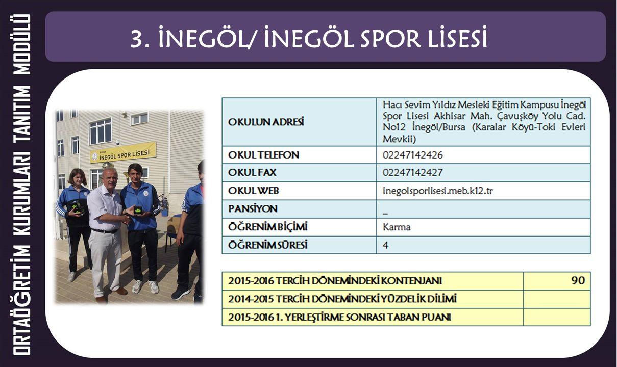 3. İNEGÖL/ İNEGÖL SPOR LİSESİ