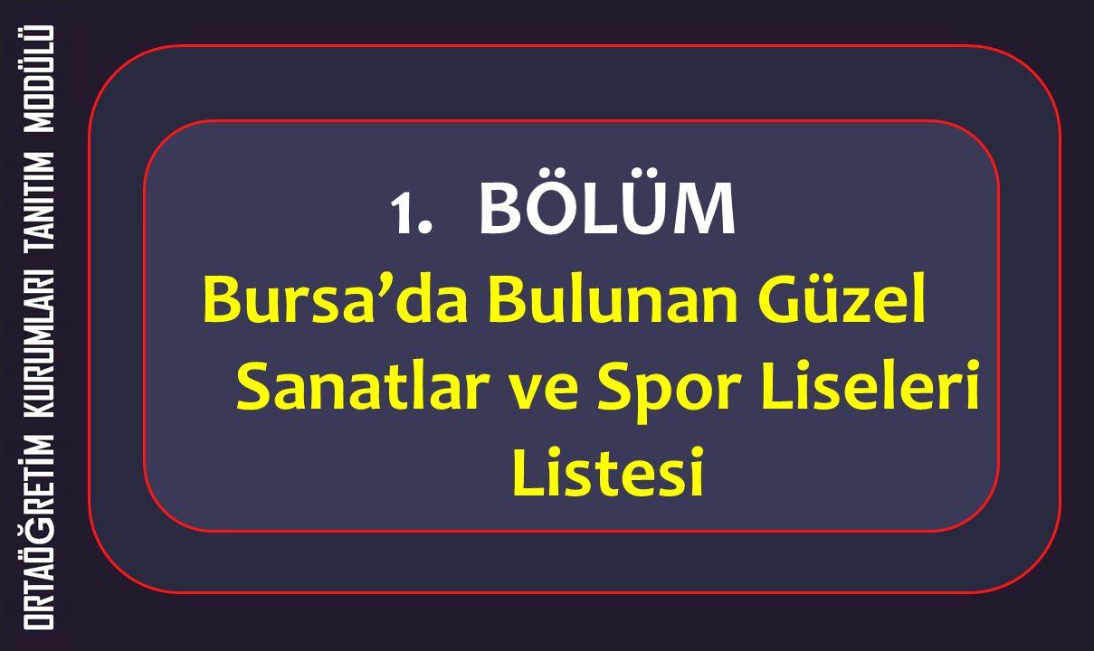 1.BÖLÜM Bursa'da Bulunan Güzel Sanatlar ve Spor Liseleri Listesi