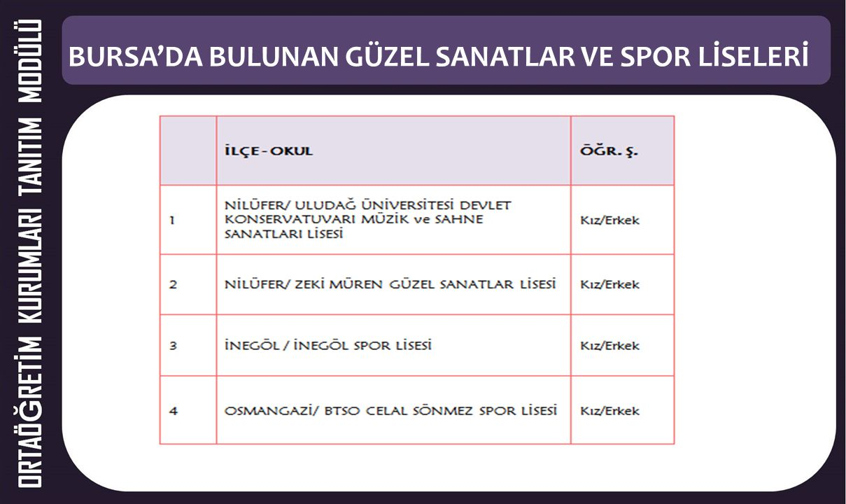 2. BÖLÜM Bursa'da Bulunan Güzel Sanatlar ve Spor Liseleri Tanıtımı