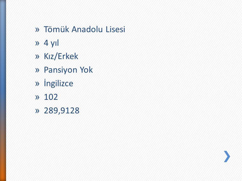 » Tömük Anadolu Lisesi » 4 yıl » Kız/Erkek » Pansiyon Yok » İngilizce » 102 » 289,9128